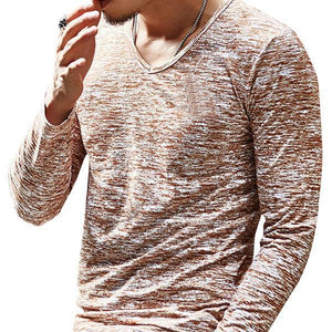 Mens Casual Solid Slim Fit Long-Sleeved V-Neck T-shirt
