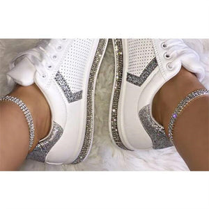 Women Crystal Three Row Anklet