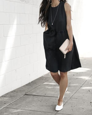 Summer Black Lace-Up A-Line Dress