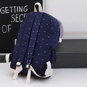 3PCS Set Canvas Backpack Casual Large Capacity School Bag
