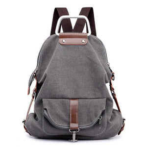 Casual Canvas Multipurpose Multi-pockets Backpack Crossbody Bag