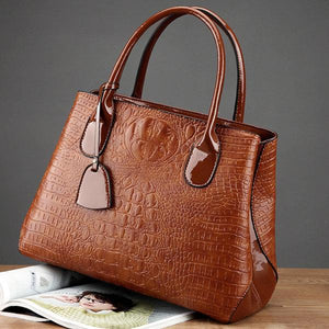 Women Crocodile High-End Vintage PU Leather Handbag