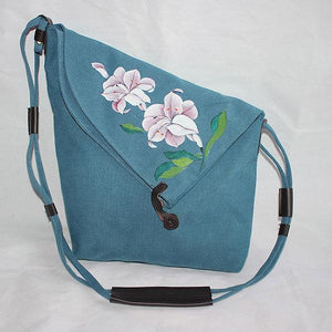 Hand Painted Flower Shoulder Bag Vintage Chinese Style Crossbody Bag