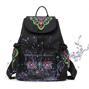 Nylon Flower Pattern National Style Travel Outdoor Backpack