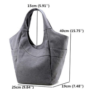 KVKY Canvas Tote Handbag Large Capacity Shopping Bag