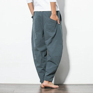 Mens Casual Baggy 100% Cotton Harem Pants Loose Wide Leg Pants