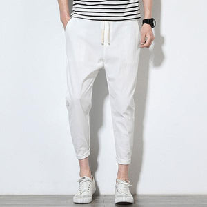 Men's Cotton Linen Solid Color Slim Fit Casual Pants