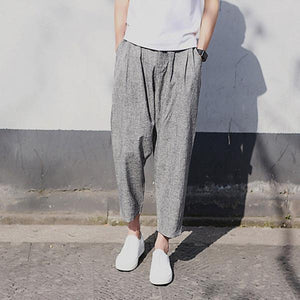 Thin Linen Ankle-Length Casual Pants Breathable Loose Harem Pants