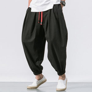 Solid Color Baggy Loose Drawstring Casual Cotton Harem Pants