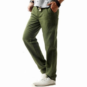 Mens Casual Breathable Cotton Linen Regular Fit Drawstring Pants