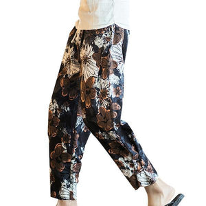Ethnic Style Printed Loose Wide Leg Pants Baggy Cotton Harem Pants