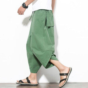 Cotton Harem Pants Solid Color Baggy Loose Fit Wide Legs Trousers
