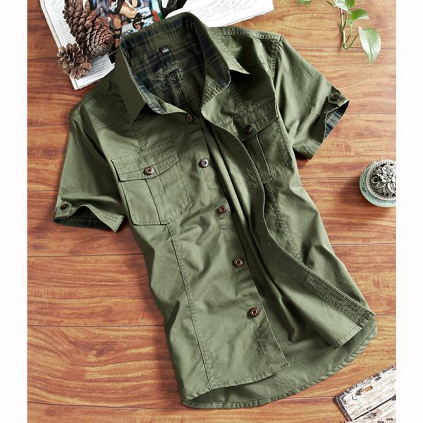 a19bca791 Outdoor 100% Cotton Breathable Multi Pockets Short Sleeve Shirts