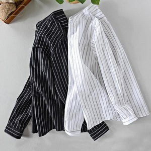 Striped Retro Breathable Long Sleeve Single-breasted Loose Shirt