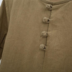 Vintage 100% Cotton Button Collar Solid Color Long Sleeve T-shirt