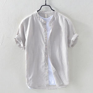 Men Solid Color Stand Collar Short Sleeve Breathable Cotton Shirt