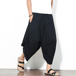 Cotton Harem Pants Solid Color Baggy Loose Fit Wide Leg Trousers