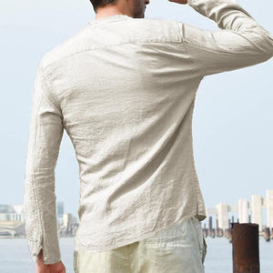 Solid Color Casual Cotton Stand Collar Long Sleeve Loose Shirts