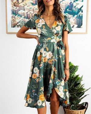 Elegant High Waist Printed Ruffled Summer Dresses