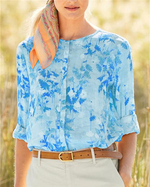 Long Sleeve Printed Summer Women Holiday Blouse