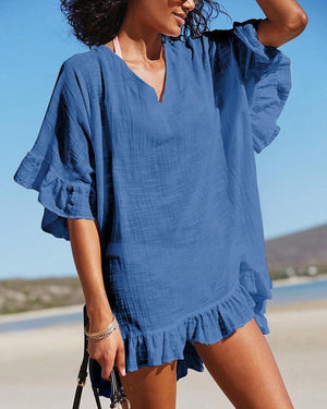 Summer V Neck Half Sleeve Ruffled Vacation Beach Dress