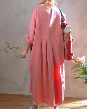 Casual Holiday Solid Long Sleeve Crew Neck Maxi Dress