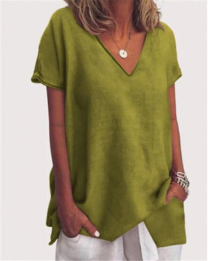 Women Solid  Holiday V Neck Short Sleeve Casual Blouse