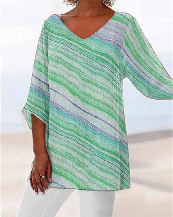 V Neck Plus Size Summer Printed Women Holiday Blouse