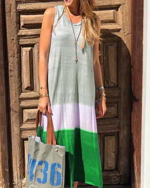 Women Crew Neck Cotton Striped Sleeveless Maxi Dresses