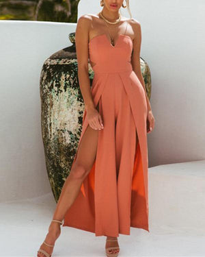 Fashion Sleeveless Solid Wide Leg Jumpsuit