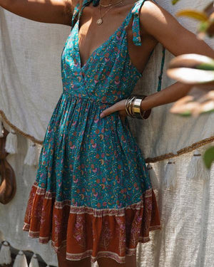 Summer Lace-Up V-Neck Pleated Print Dress
