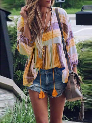 Casual V Neck Patchwork Long Sleeve T-Shirt