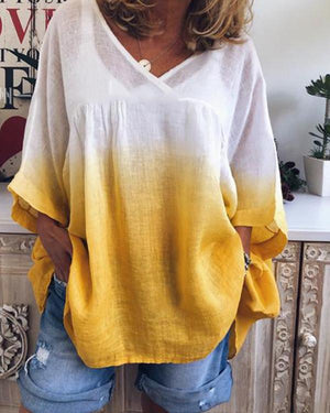 Casual Gradient Color Print V-Neck Loose Half Sleeve Blouse