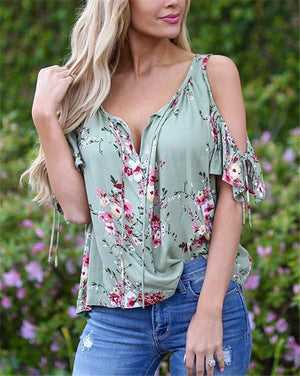 Floral Printed Short Sleeve Women Summer Tops