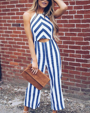 Casual Stripe Printed Sleeveless Jumpsuits