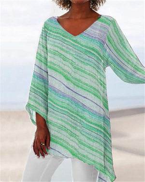 V Neck Printed Plus Size Summer Women Holiday Blouse