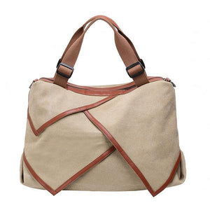 Canvas Large Capacity Handbag Patchwork Leisure Crossbody Bag