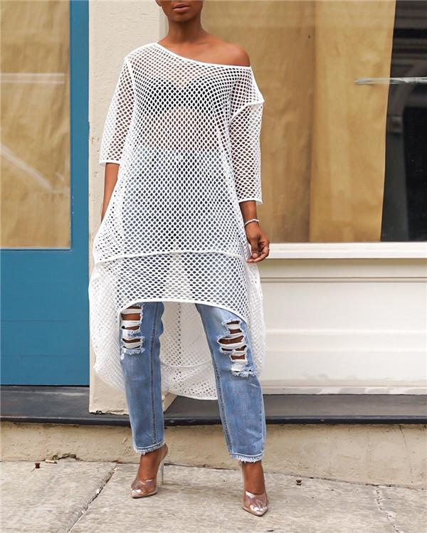 Casual Asymmetrical Hollow-out Blouse