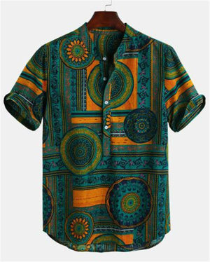 Ethnic Style Printed Cotton Breathable Buttons Fly Henley Shirts