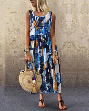 Vintage Round Neck Sleeveless Printed Color Dresses