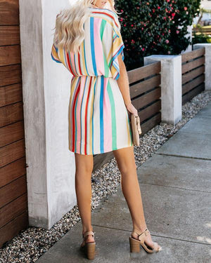 Colorful Lace Up Bat Sleeve V Neck Maxi Dress