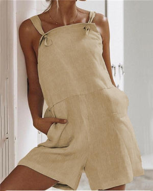 Solid Color Pocket  Linen Strap Jumpsuits