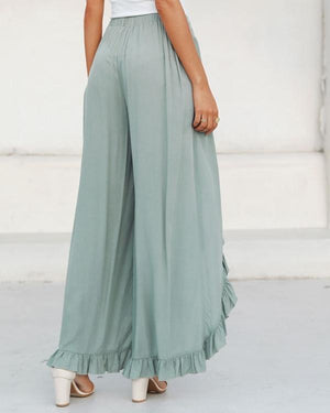 Fashion Ruffle Solid Casual Wide Leg Pants