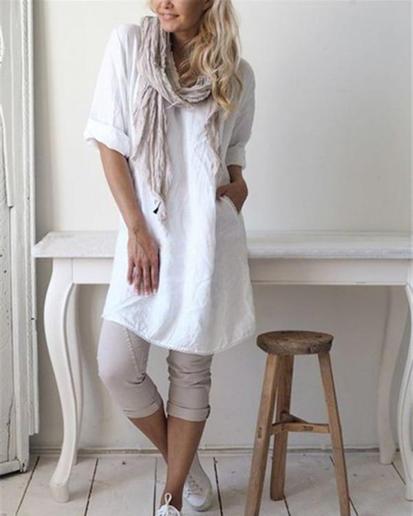 Linen Casual Short Sleeve Round Neck Solid Dress