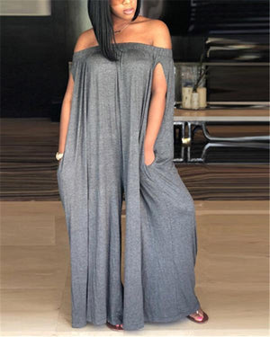 Women Solid Off Shoulder Sleeveless Casual Jumpsuits