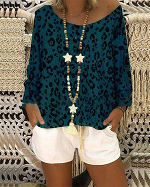 Leopard Printed Off Shoulder Stylish Women Daily Fashion Fall Tops