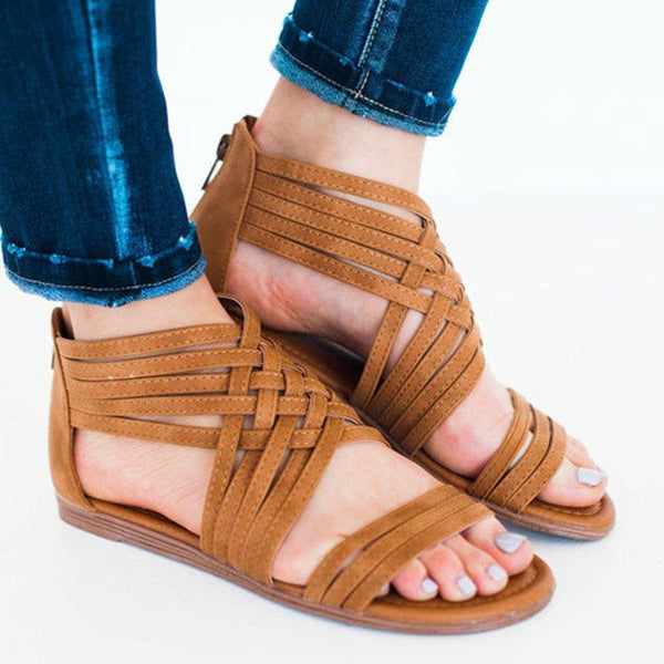 70579b9d7404 Andynzoe Women Leather Sandals Casual Zipper Shoes