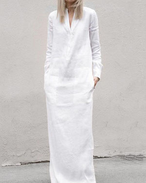 Summer V Collar Plain Loose Vacation Dress