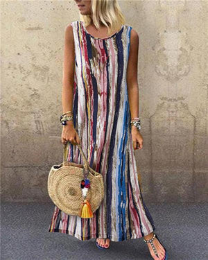 Holiday Colorful Striped Sleeveless Printed Maxi Dress