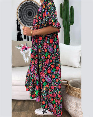 Floral Printed V Neck Summer Printed Holiday Chic Dresses